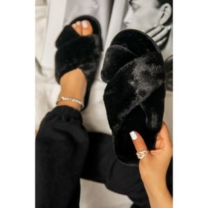 Just In!🖤Black Criss Cross Fur Strap Sandal